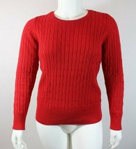 St. John's Bay Womens Sweater Sz L Red Cable Knit Pullover Crewneck Casual - $20.03