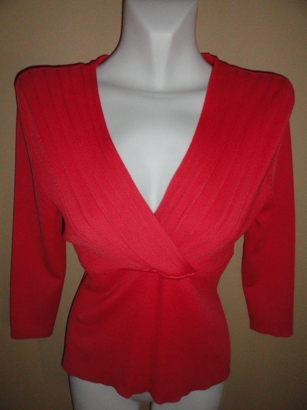Women's Valerie Stevens Seperates Petite Salmon V Neck Knit Top Shirt Size: PM