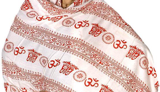 Prayer Shawl Om Pure Cotton 6.7 Feet Long Yoga Meditation Temple