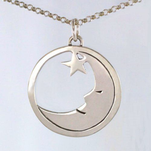 "Sterling Silver Lazy Moon with Star Pendant with 18"" Chain Handmade in Mexico"