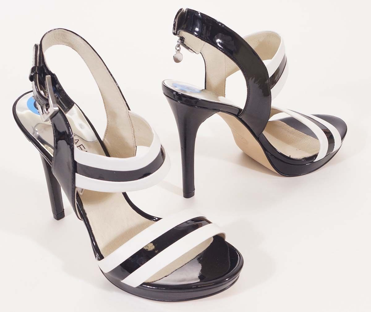 Michael Kors Womens Black White Patent Leather Ankle Strap Sandals Heels Shoes