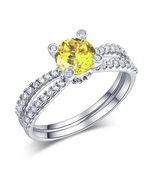 925 Sterling Silver Engagement Ring 1.25 Ct Yellow Canary Lab Created Di... - $119.99