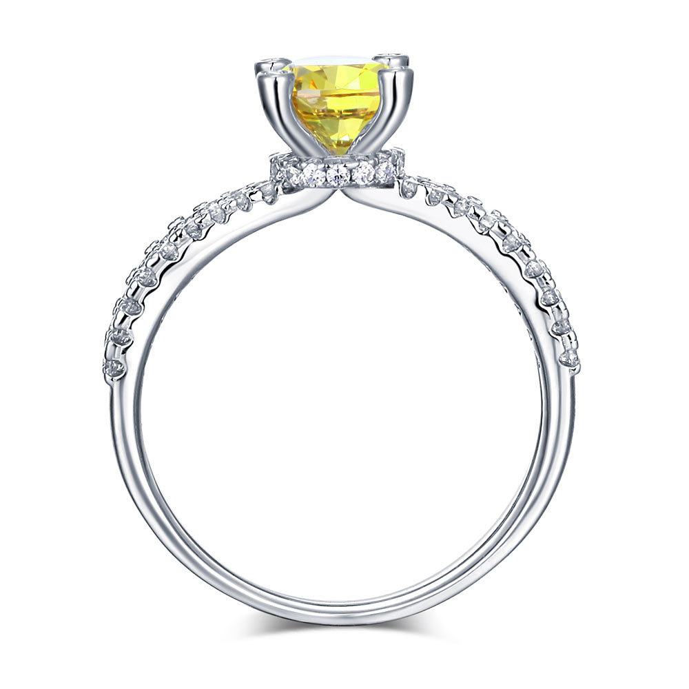 925 Sterling Silver Engagement Ring 1.25 Ct Yellow Canary Lab Created Diamond