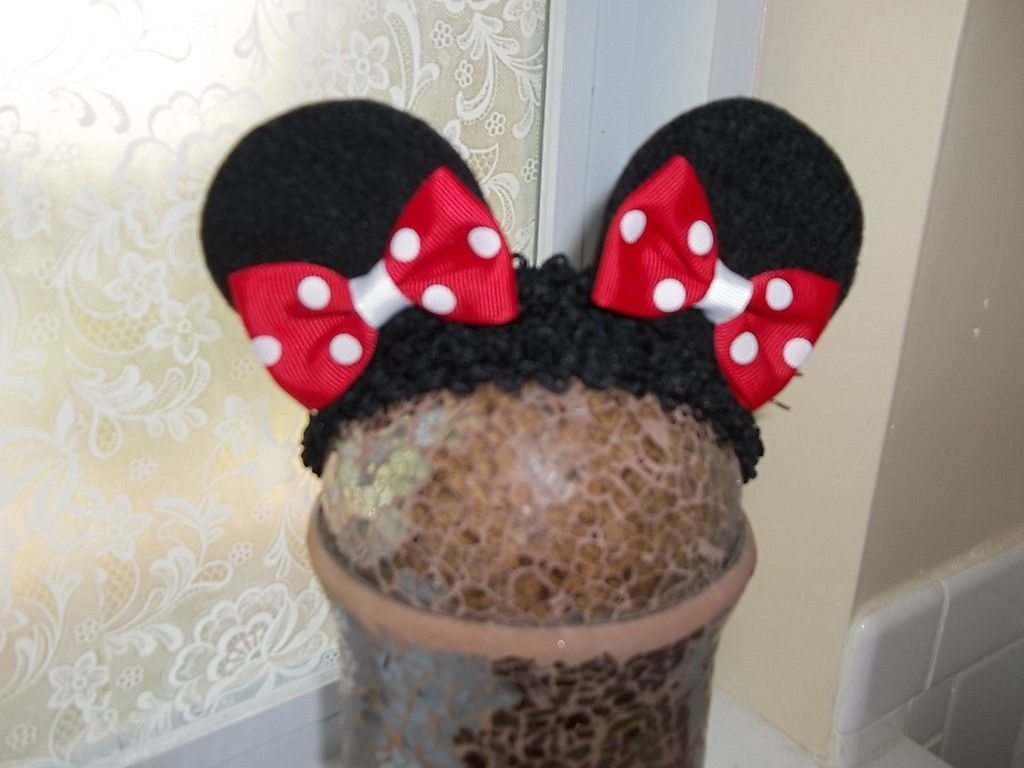 BABY GIRL & OLDER MINNIE MOUSE EAR HEADBAND (RED, HOT PINK OR PINK)