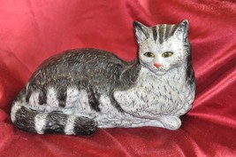 "Tiger striped B & W Cat Yellow eyes Figurine 13"" X 8.5"" - $46.74"