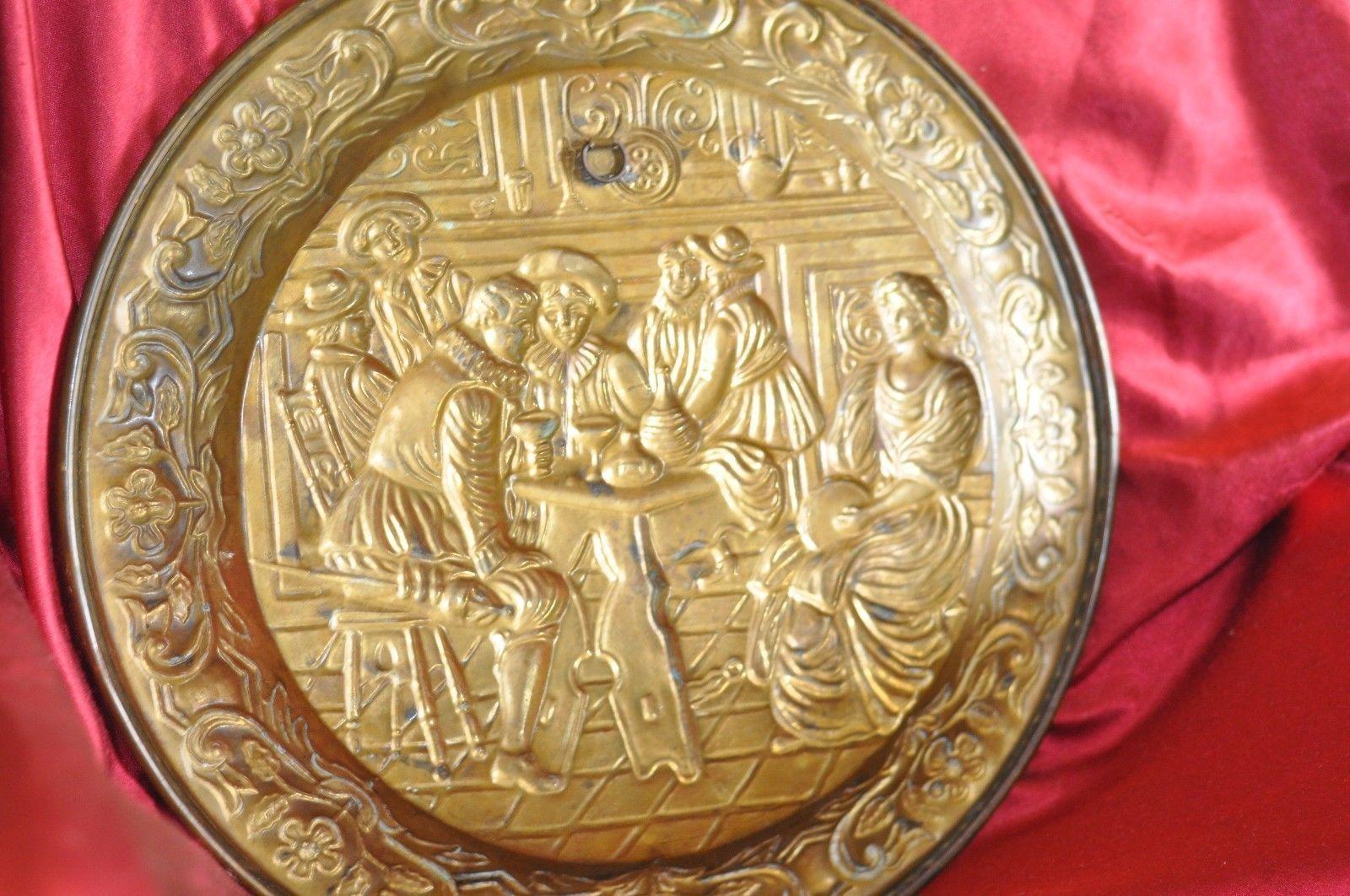 "Large Brass Bar Scene Wall Plate Tray 16"""