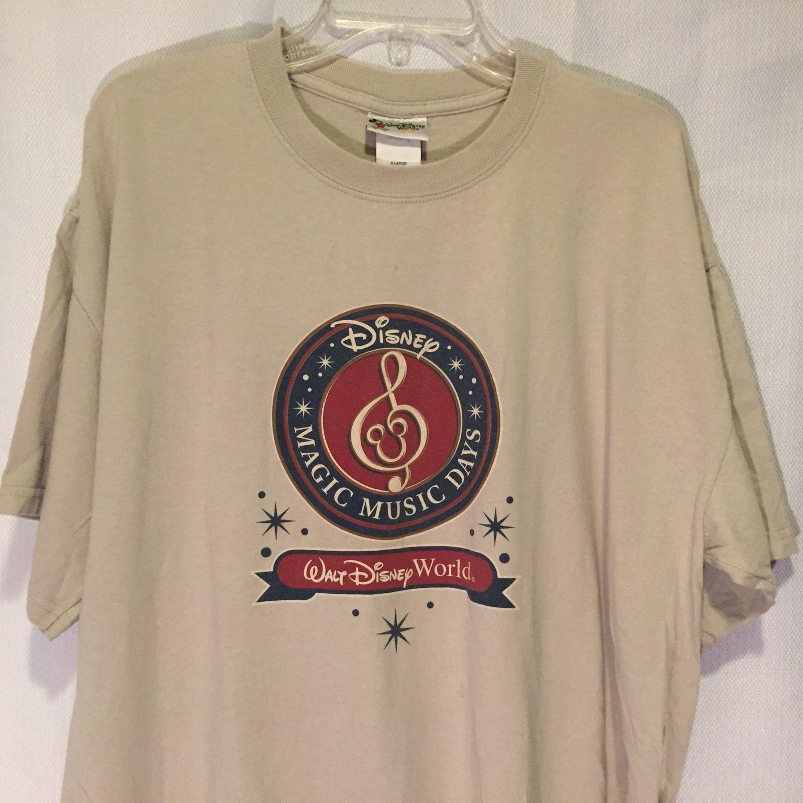 Walt Disney World Mickey Mouse Magic Music Days T-Shirt XL Brown Cotton X Large