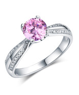 925 Sterling Silver Wedding Engagement Anniversary Ring Fancy Pink Lab D... - $99.99