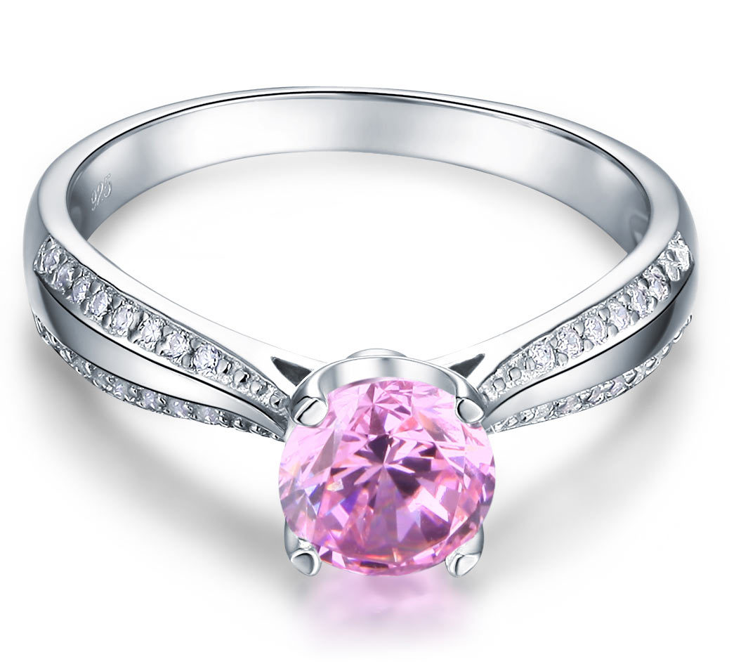 925 Sterling Silver Wedding Engagement Anniversary Ring Fancy Pink Lab Diamond