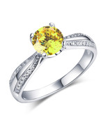 925 Sterling Silver Wedding Engagement Ring 1.25 Carat Yellow Canary Lab... - $99.99