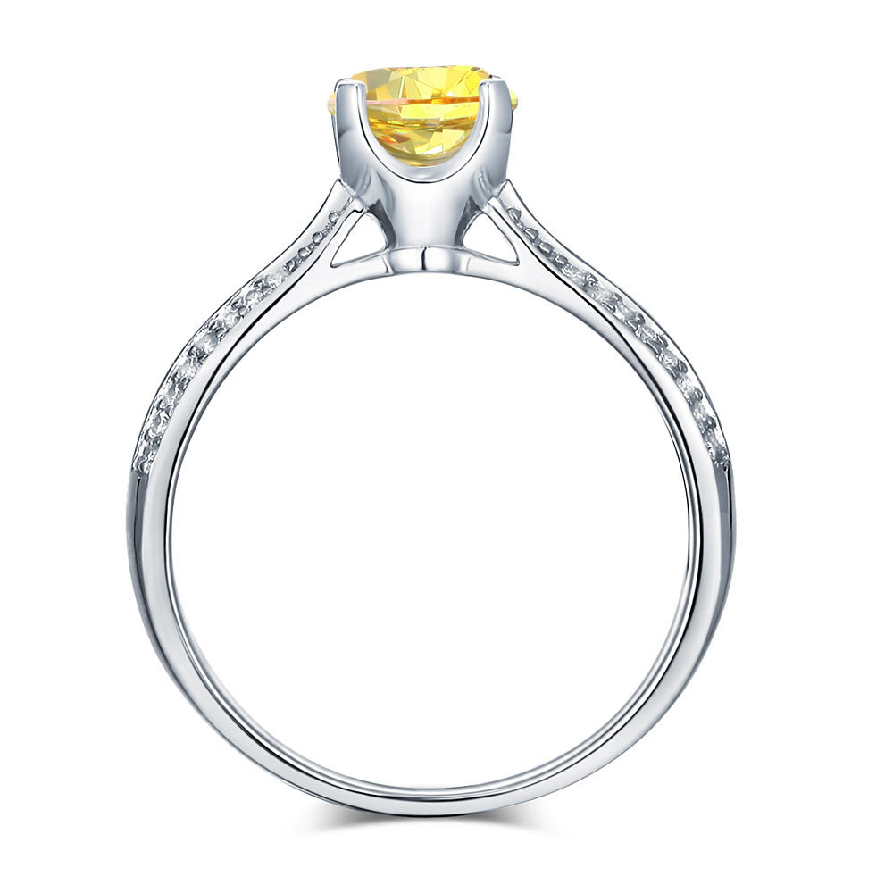 925 Sterling Silver Wedding Engagement Ring 1.25 Carat Yellow Canary Lab Diamond