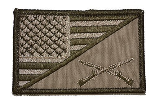 Rifle Cross USA Flag 2.25 x 3.5 inch Morale Patch - Coyote Brown