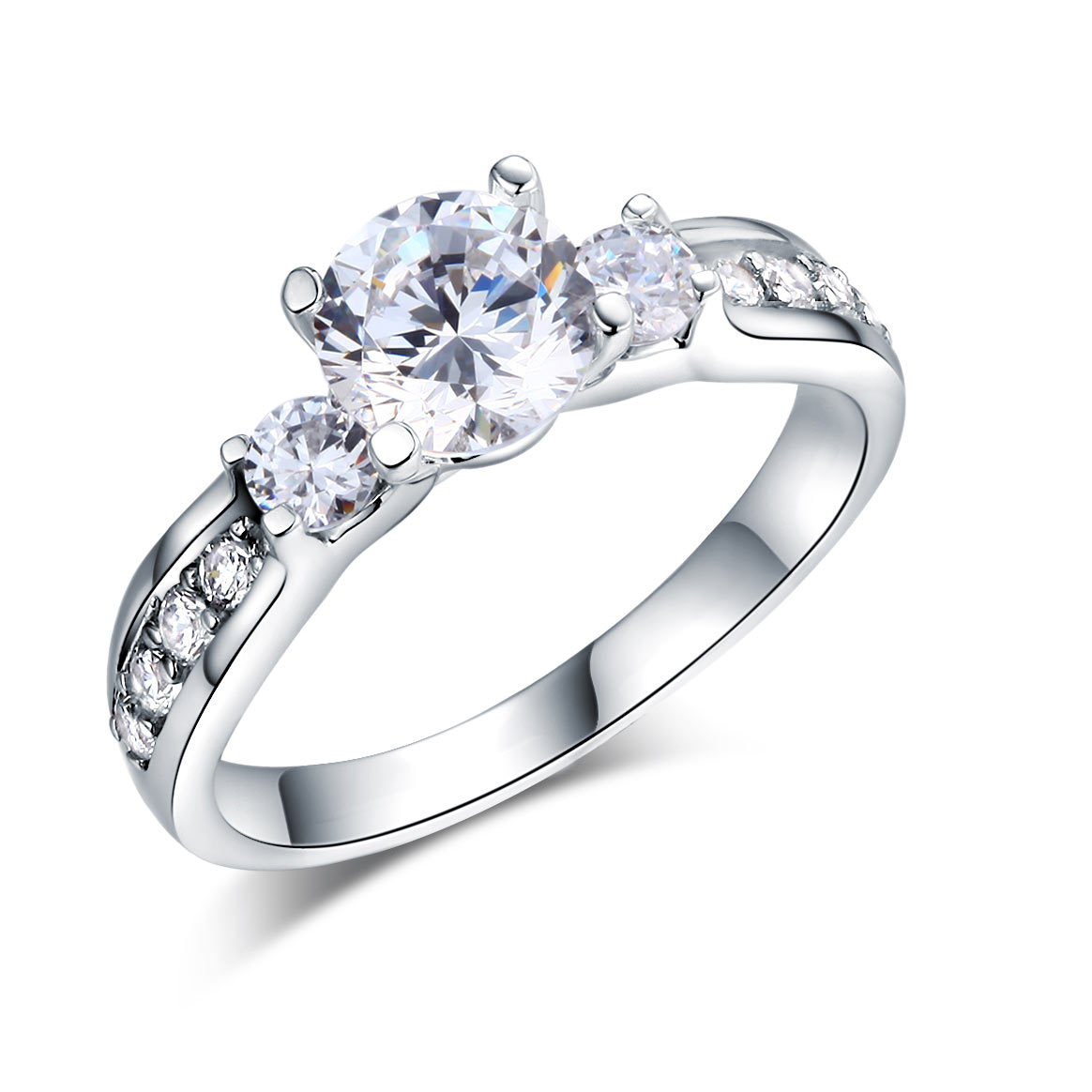 925 Sterling Silver Wedding Engagement Ring Brilliant 1.25 Ct Lab Create Diamond