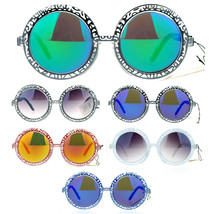 SA106 Art Nouveau Diecut Victorian Jewel Round Circle Lens Retro Sunglasses - $12.95