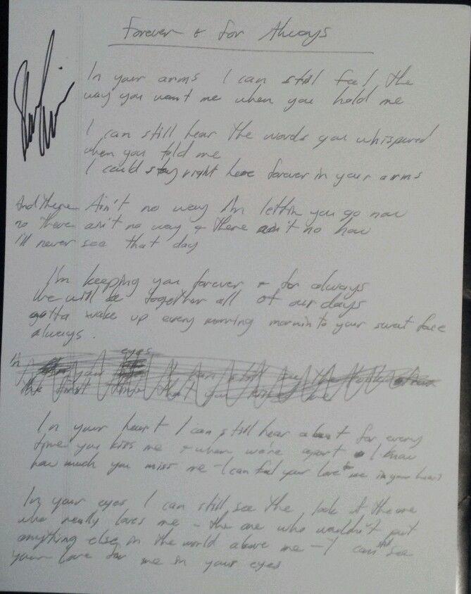 Shania Twain RARE Hand Written & Autographed Forever & For Always Lyrics Reprint