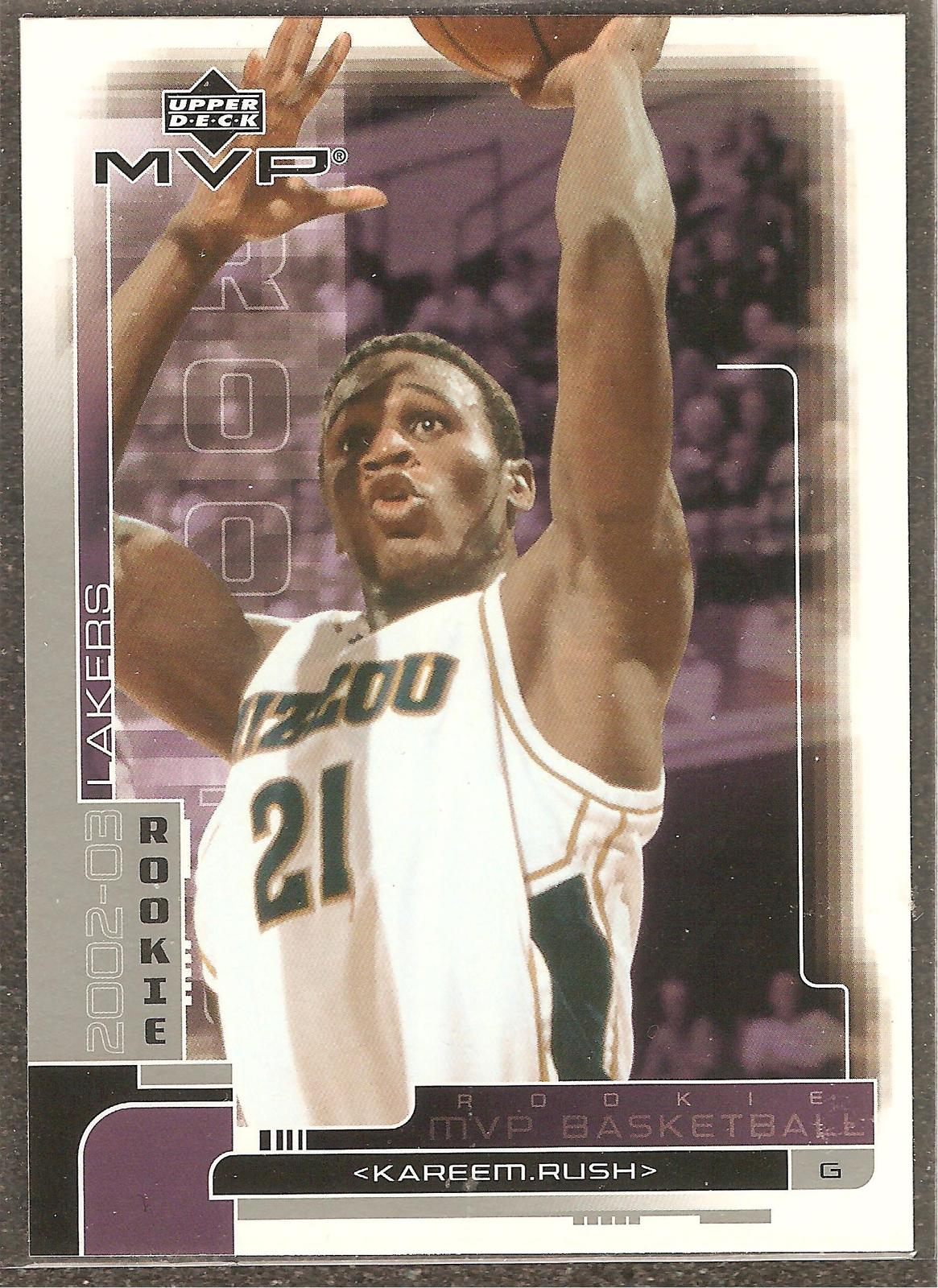 Kareem Rush MVP 02-03 #211 Rookie Card Los Angeles Lakers Charlotte Bobcats