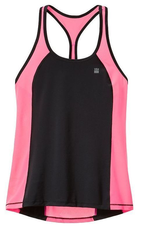 NEW Victoria's Secret Sport Lightweight Sport Tank in Black/Hello Lovely. Small