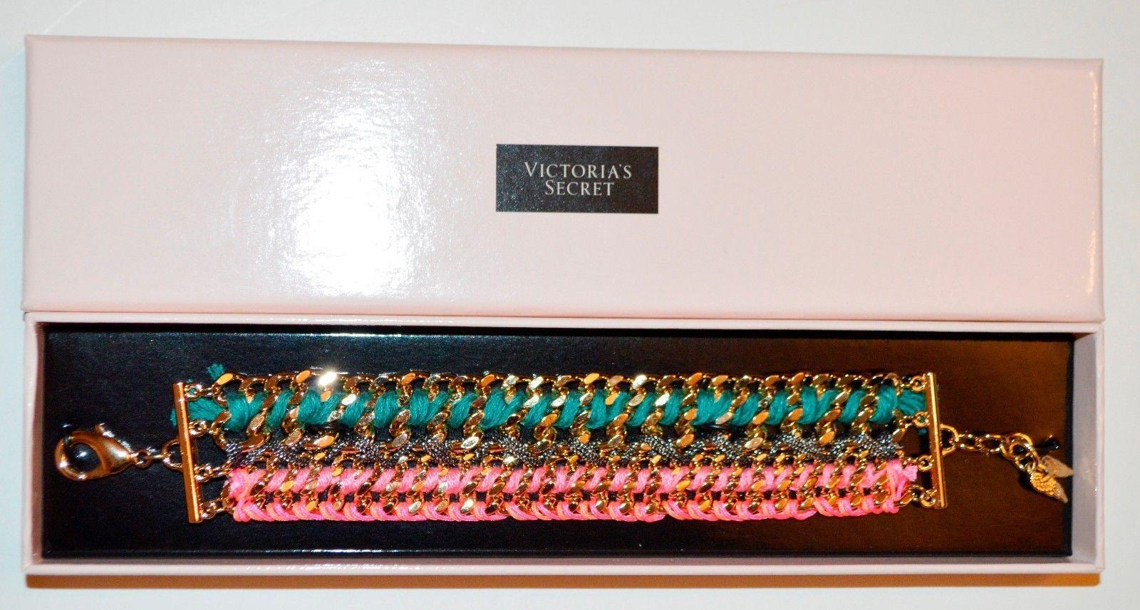 NEW Victoria's Secret 10k Real Flash Gold Bracelet in Teal & Pink. Retail $78