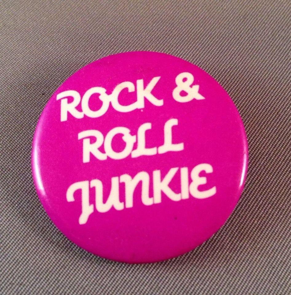 Rock And Roll Junkie Button Pin Pinback Music Fan Purple