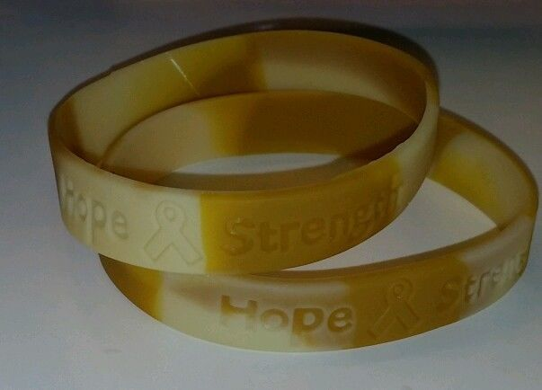 2 CANCER BRACELETS《CHILDHOOD CANCER》BLADDER CANCER》Hope & Strength》 WRISTBAND