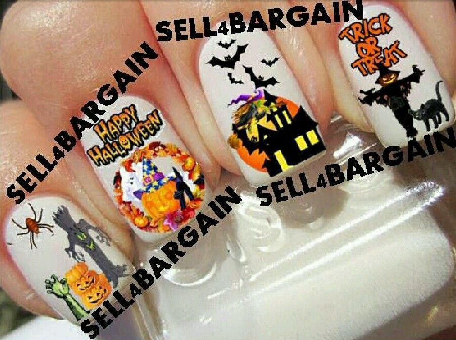 HAPPY HALLOWEEN GHOST WITCH BAT SCARECROW》PUMPKIN》Tattoo Nail Decals《NON-TOXIC