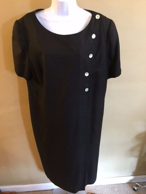 Shomi by Miller Shor Woman Black Silk Women's w/ Bottoms  Lined Dress Size 18