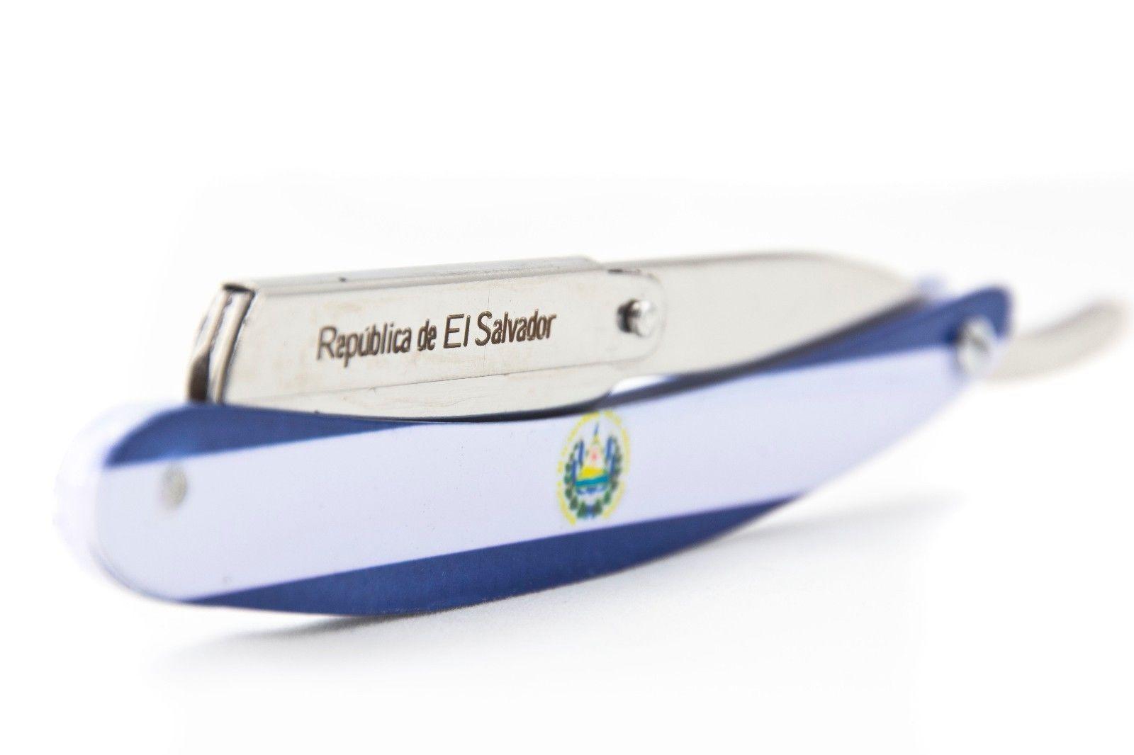 MD Barber El Salvador Flag Stainless Steel Razor Image Infused Handle