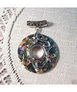 Mosaic Abalone Paua Shell Pendant, Green, Purple, 48mm - $24.00