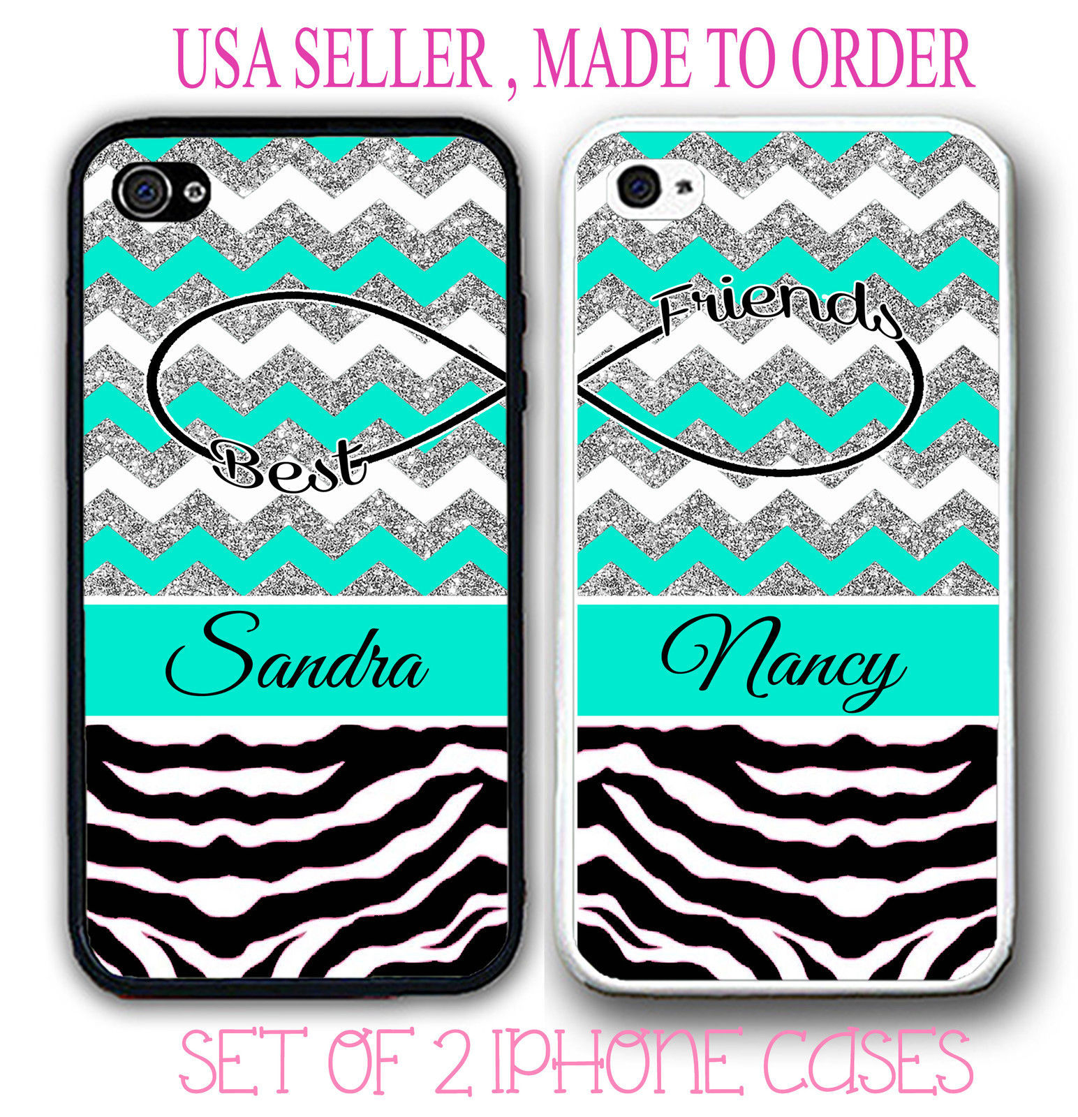 TEAL GREY SILVER CHEVRON ZEBRA BFF BEST FRIENDS CASES For iPhone 6 6+ 4S 5 5S 5C
