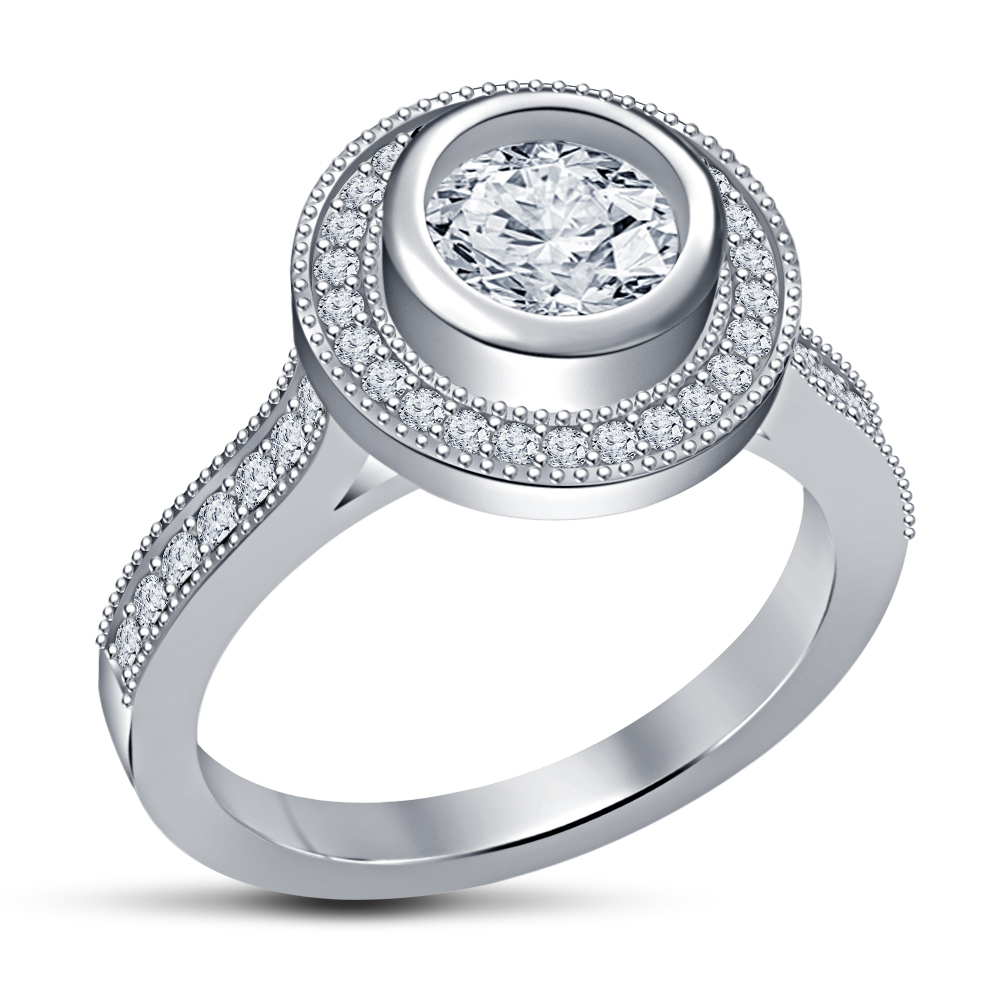 Women's SPL 1.50ct White CZ 925 Pure Sterling Silver Solitaire With Accents Ring