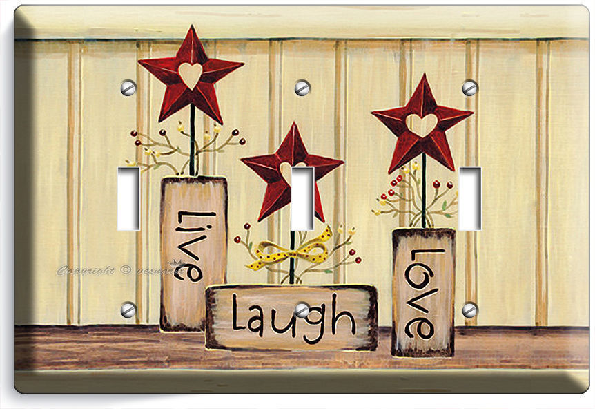 LIVE LAUGH LOVE TRIPLE LIGHT SWITCH WALL PLATE KITCHEN DECOR LIVING ROOM BEDROOM