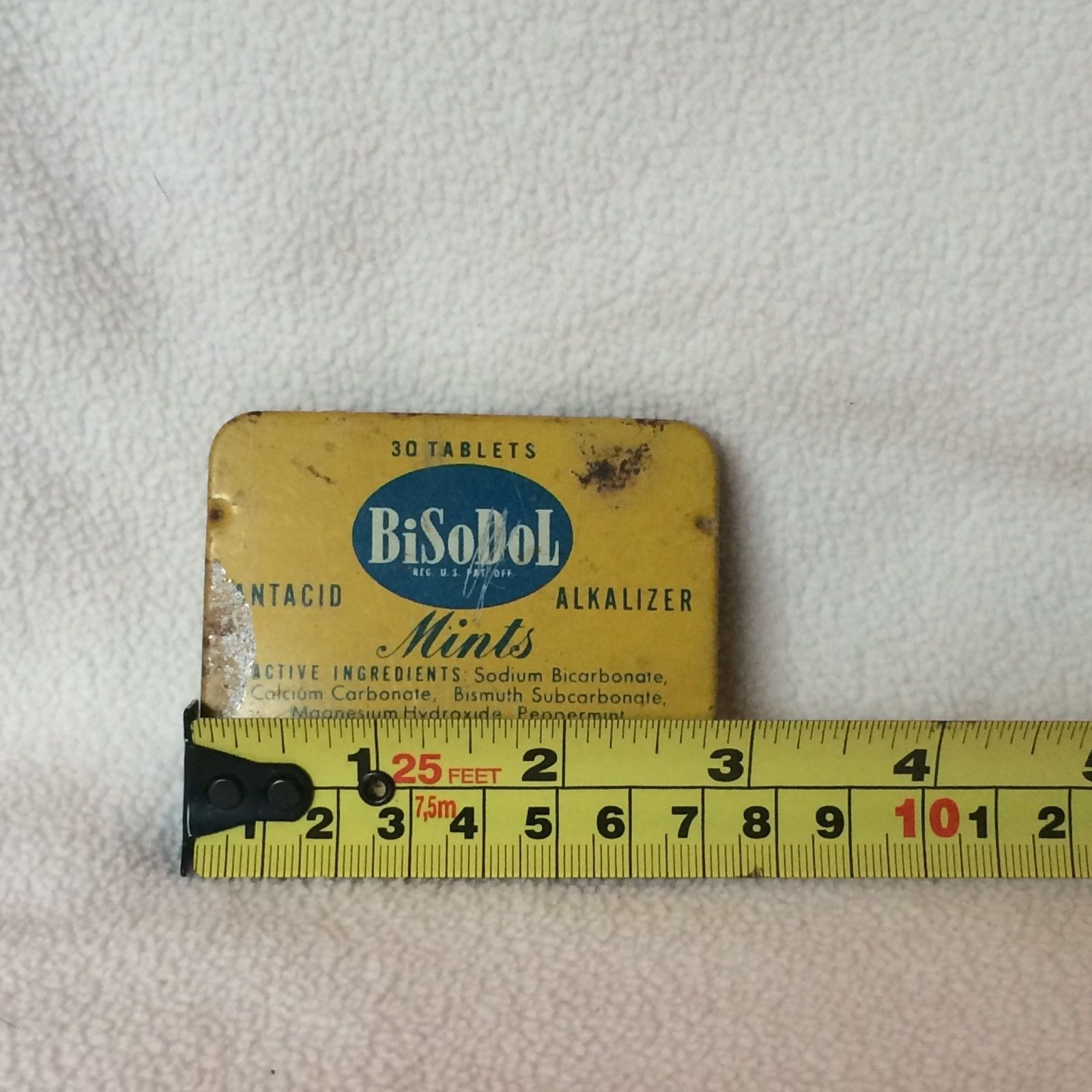 Vintage BiSoDol Mints Empty Tin Antacid 30 tablets New York, NY Yellow Blue