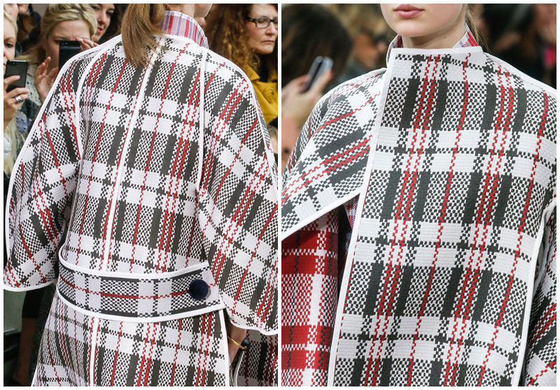Designer Runway Check Plaid  Striped Wool Long Cardigan Sweater Coat Poncho