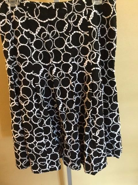 CAROLE LITTLE Womens Black and White Geometric Lined Skirt Womens Size 10