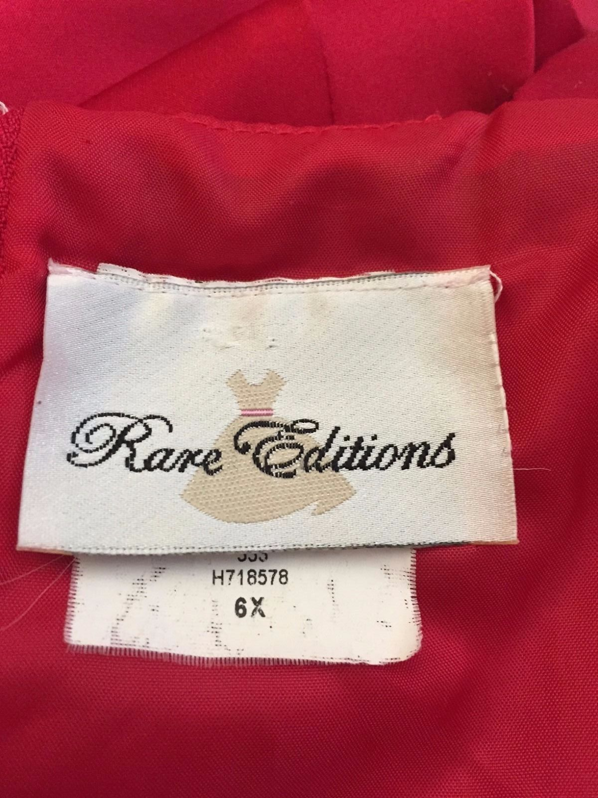 Rare Editions Girl's Red Dress w/ Sequins on Shoulder Size 6X
