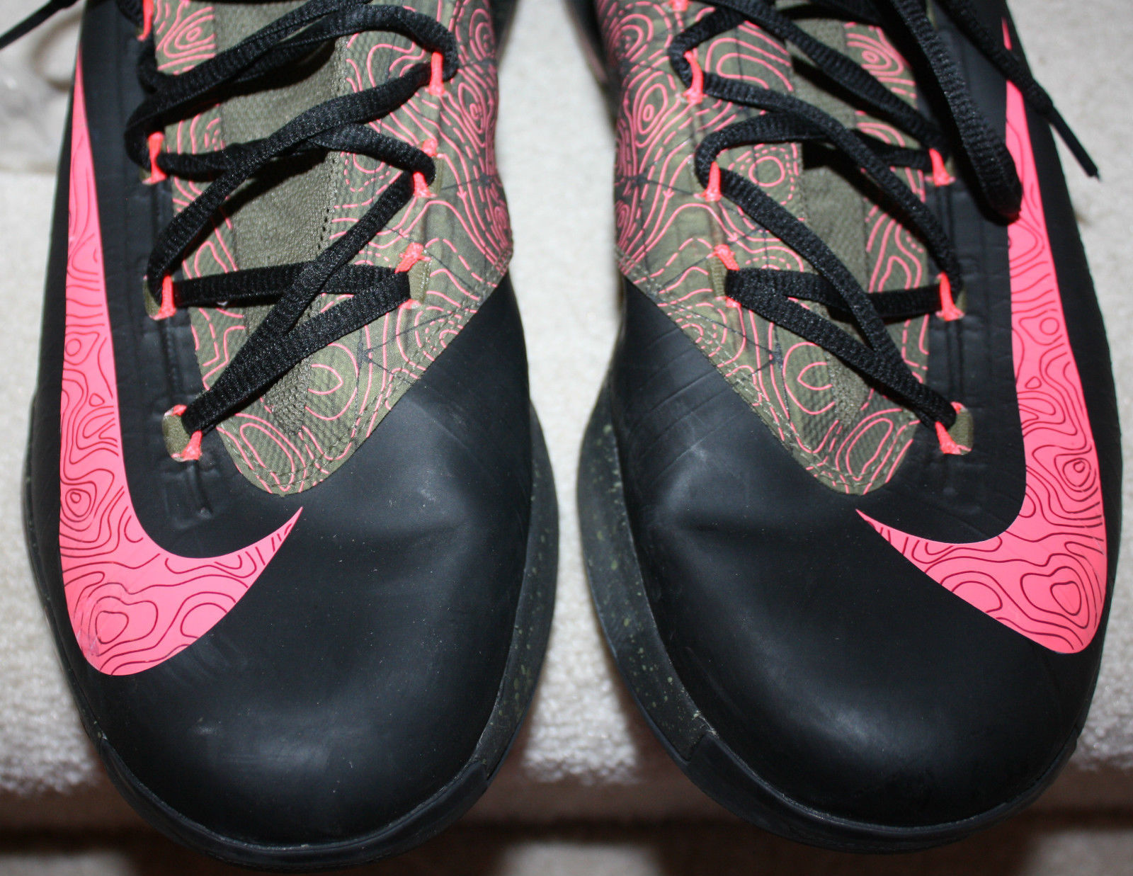 Nike Men's KD VI Kevin Durant Meteorology $224 Black Atomic Red Medium Olive 14M