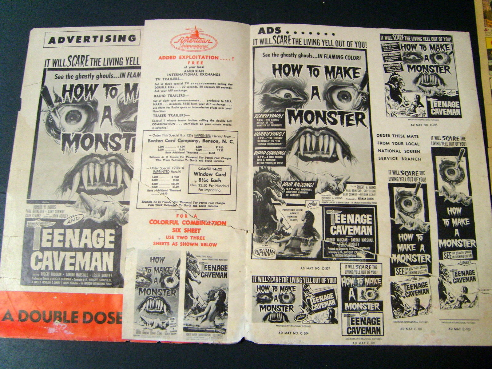 GARY CONWAY (HOW TO MAKE A MONSTER & TEENAGE CAVEMAN) MOVIE PRESSBOOK (WOW)