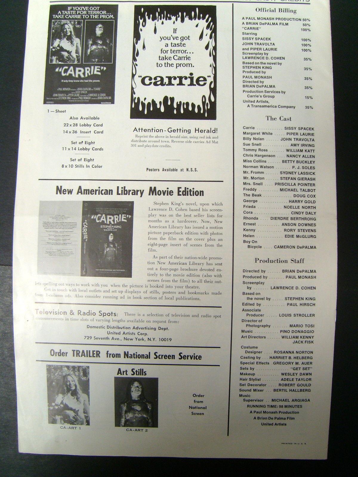 STEVEN KING,SISSY SPACEK (CARRIE) ORIGINAL VINTAGE 1976 MOVIE PRESSBOOK