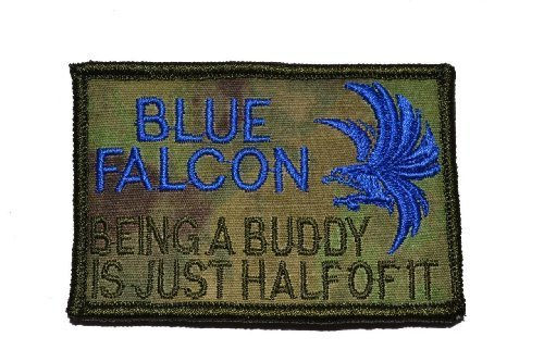 "Blue Falcon ""Buddy F****er"" 2x3 Military Patch / Morale Patch - Coyote Brown"