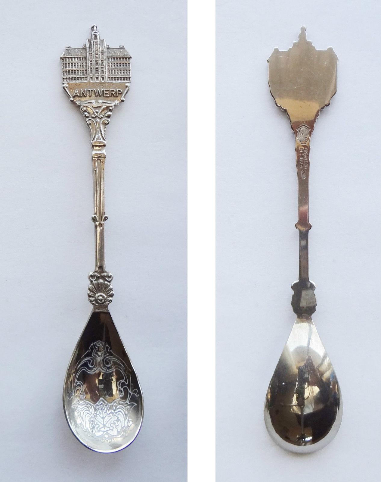 Collector Souvenir Spoon Belgium Antwerp Grote Market City Hall Figural Teardrop