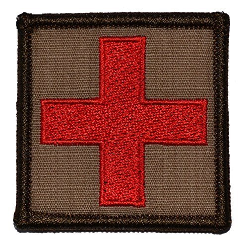 """Red Medic Cross - 2""""x2"""" Military Morale Funny Patch (White)"""