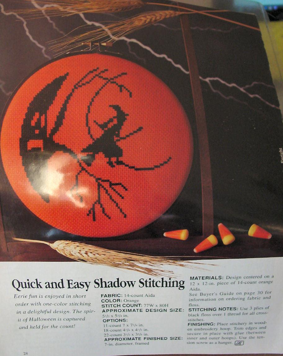 "Pattern Cross Stitch Halloween Moon Shadow Picture 5.5"" x 5.25"""