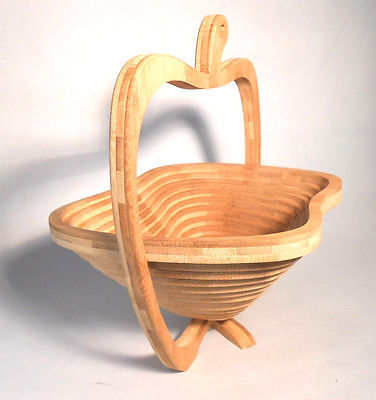 Collapsible Wooden Bowl Wood Fruit Basket - New Wooden Folding HandMade Brown