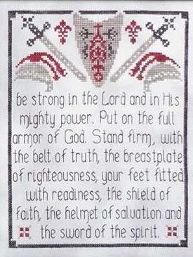 Armor of God cross stitch chart My Big Toe Designs