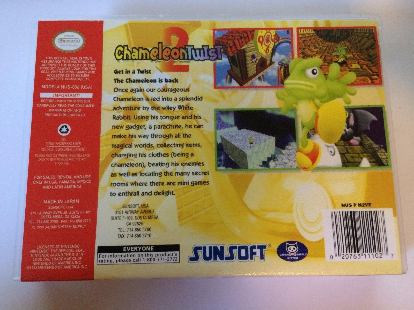 Chameleon Twist 2 - Nintendo 64 - Replacement Case - No Game