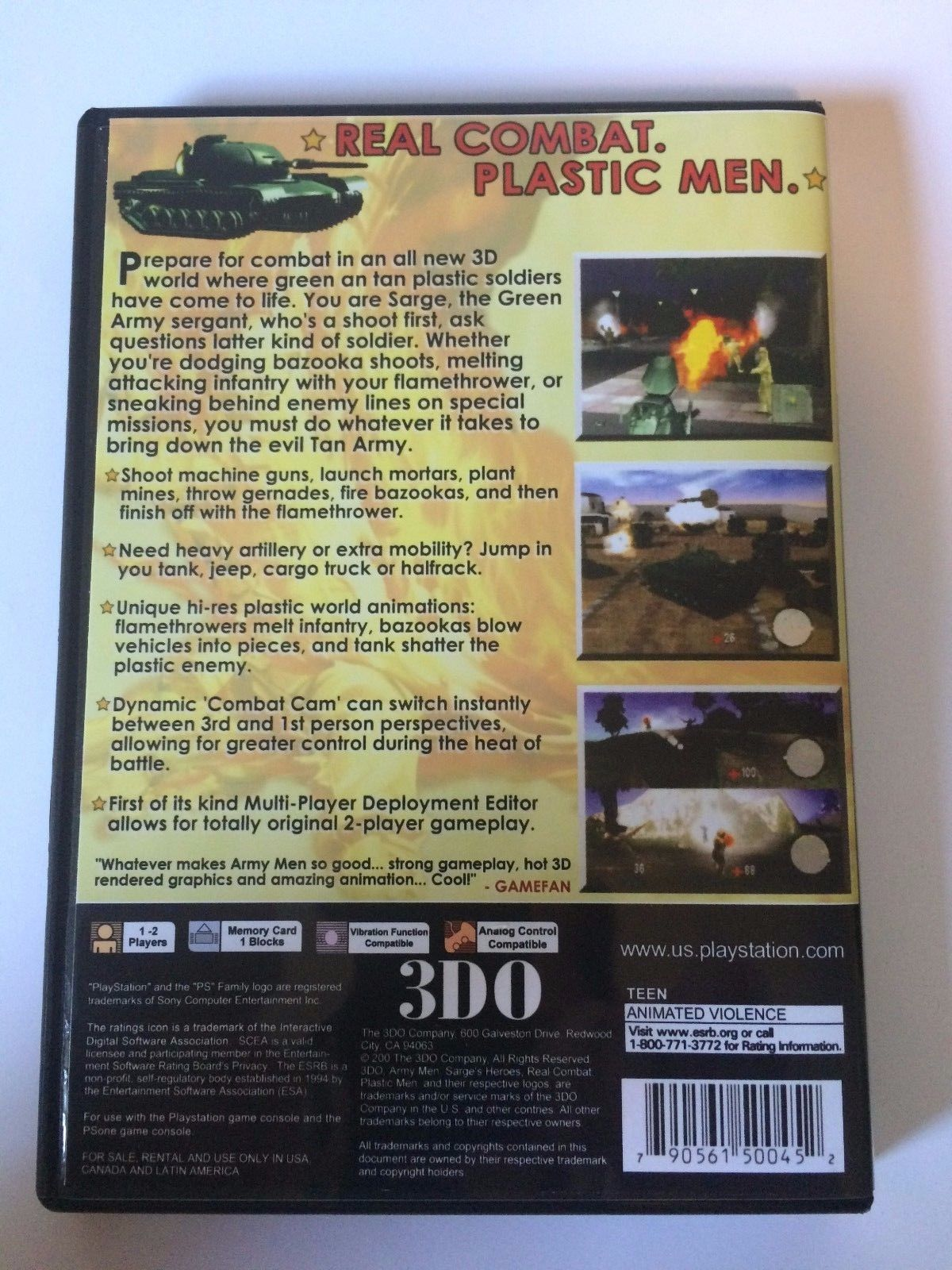 Army Men 3D - Playstation - Replacement Case - No Game