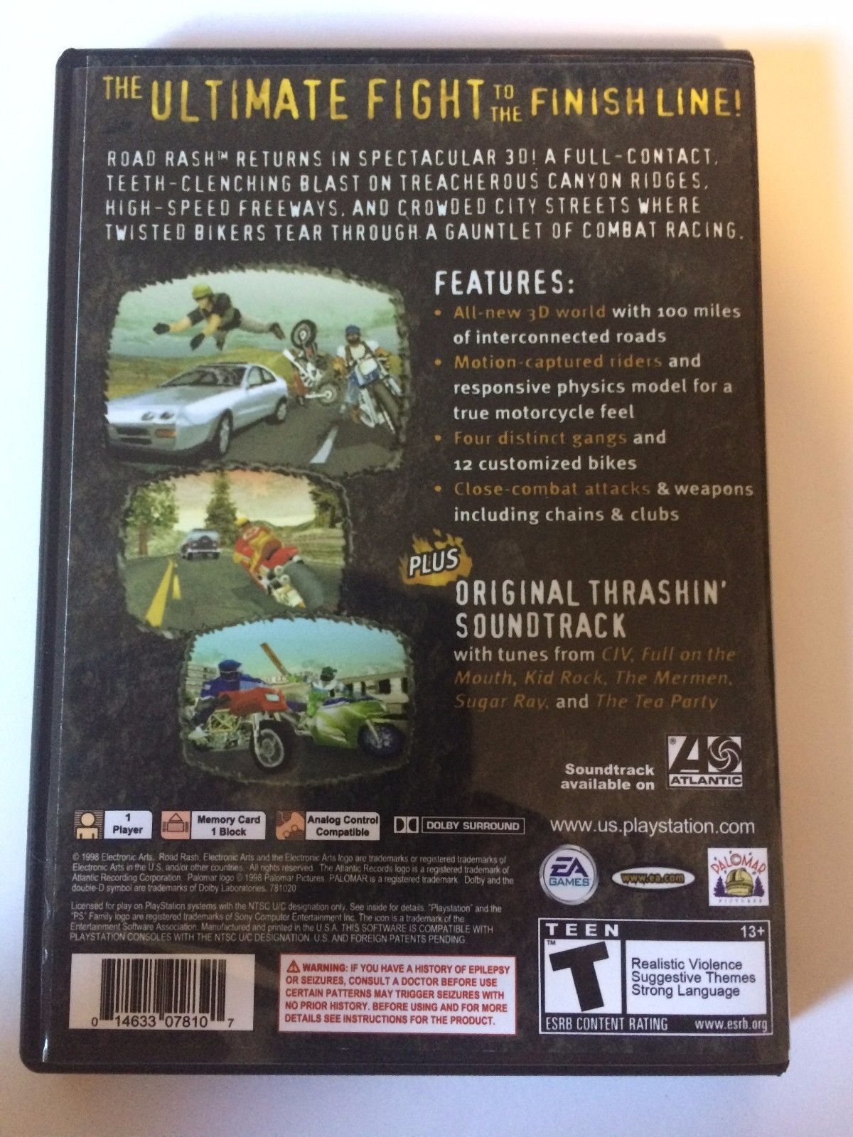 Road Rash 3D - Playstation - Replacement Case - No Game