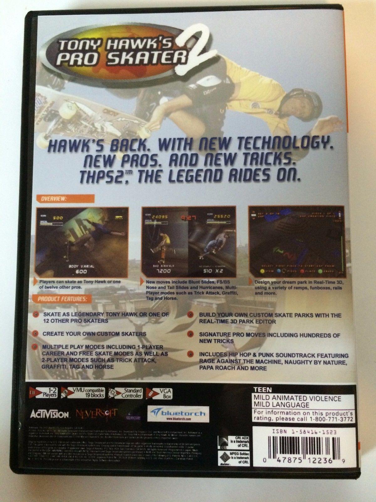 Tony Hawk's Pro Skater 2 - Sega Dreamcast - Replacement Case - No Game