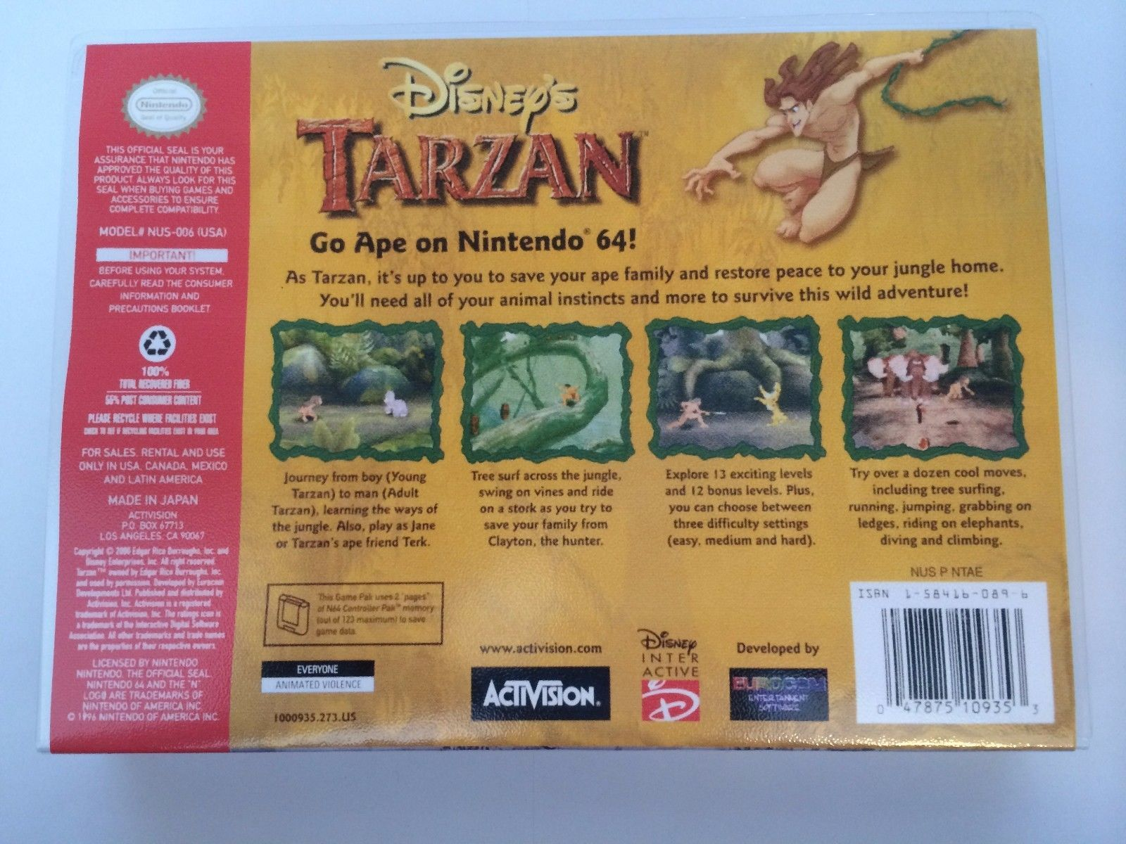 Disney's Tarzan - Nintendo 64 - Replacement Case - No Game