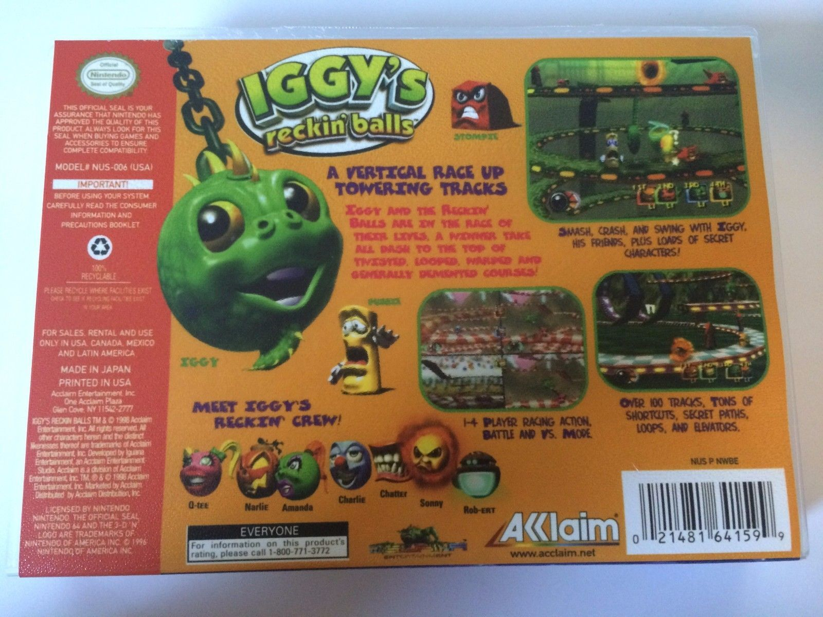 Iggy's Reckin' Balls - Nintendo 64 - Replacement Case - No Game